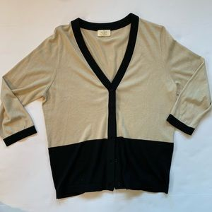 Kate Spade Color Block Button Down Silk Sweater